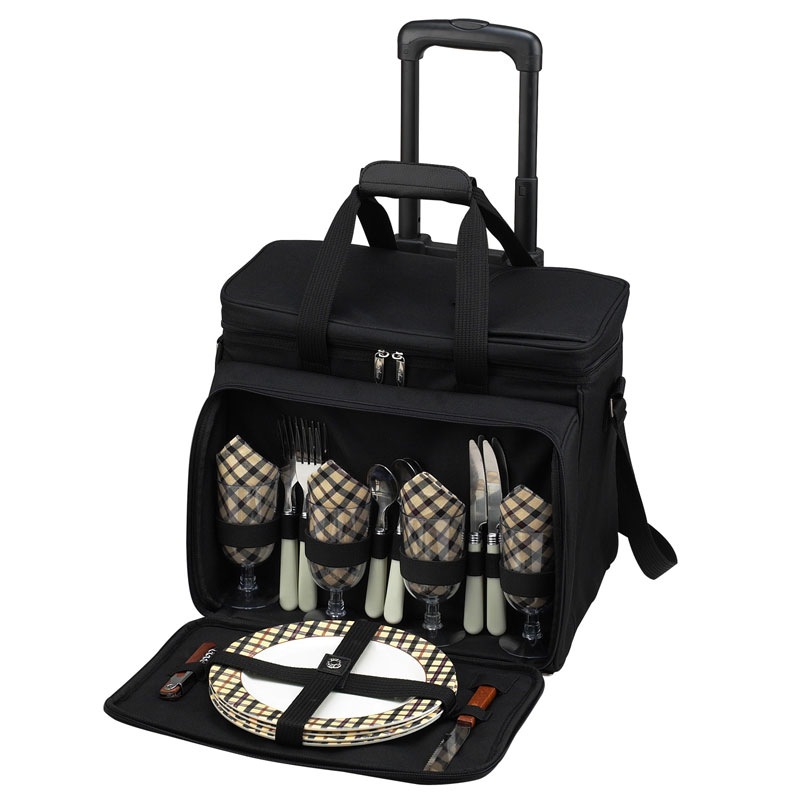 Deluxe Picnic Cooler for Four on Wheels