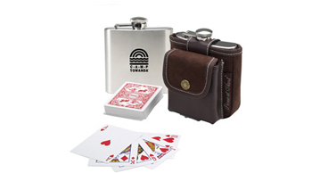 Hip Flask & Playing Cards Set