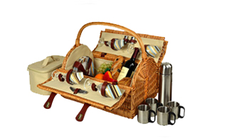Yorkshire Picnic Basket for 4 w/Coffee