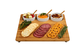 Bamboo Charcuterie Board with Serving Bowls
